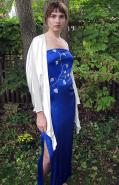 Blue silk dress with white silk jacket